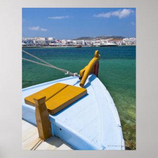 Grekland Cyclades öar, Mykonos, fiskebåt Poster