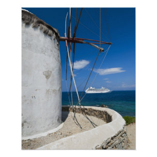 Grekland Cyclades öar, Mykonos, gammal kvarn Poster