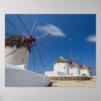Grekland Cyclades öar, Mykonos, gammala windmills Poster