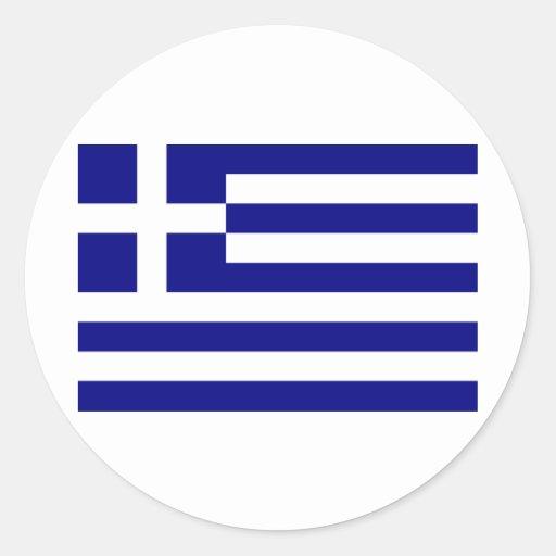 Grekland-Flagga Rund Klistermärke