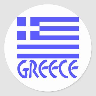 Grekland flagga & namn rund klistermärke