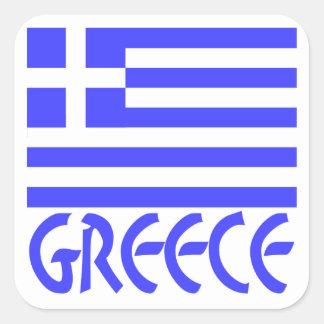 Grekland flagga & namn fyrkantigt klistermärke