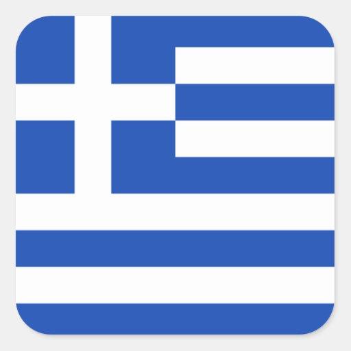 Grekland flaggaklistermärke fyrkantigt klistermärke
