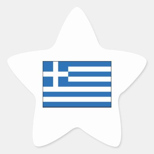 Grekland - grekisk flagga stjärnformat klistermärke