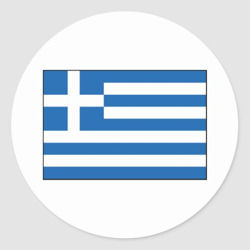 Grekland - grekisk flagga rund klistermärke