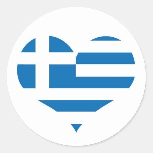 Grekland grekisk flagga runda klistermärken