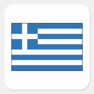 Grekland - grekisk flagga fyrkantigt klistermärke