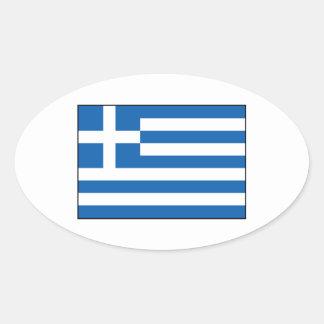 Grekland - grekisk flagga ovalt klistermärke