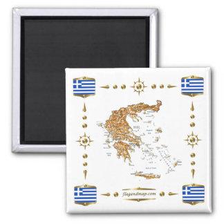 Grekland karta + Flaggormagnet Magnet För Kylskåp