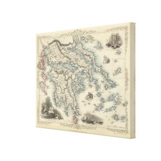 Grekland med inläggkartor av Corfu och Stampalia Canvastryck