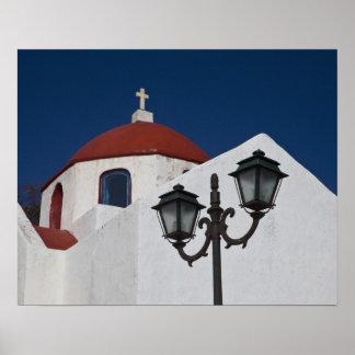 Grekland Mykonos, kapell med den röda kupolen och Poster