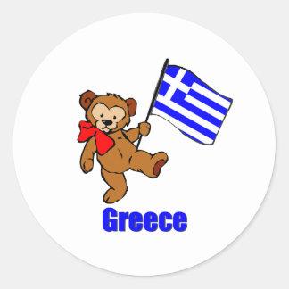 Grekland nalle runda klistermärken
