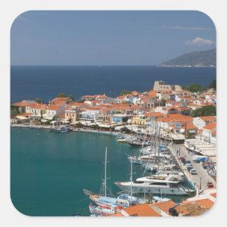 GREKLAND nordöstra Aegean öar, SAMOS, 3 Fyrkantigt Klistermärke