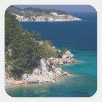 GREKLAND nordöstra Aegean öar, SAMOS, 6 Fyrkantigt Klistermärke