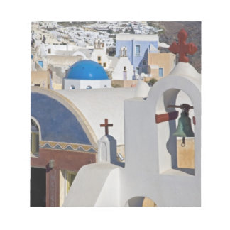 Grekland och grekisk ö av den Santorini townen av  Anteckningsblock