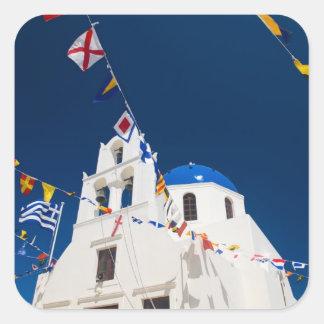 Grekland och grekisk ö av den Santorini townen av Fyrkantigt Klistermärke
