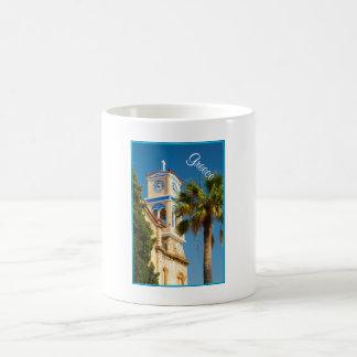Grekland - ortodox grekkyrka med palmträdet kaffemugg