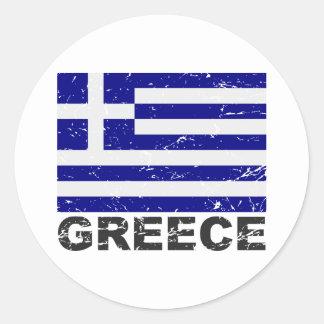 Grekland vintageflagga runda klistermärken