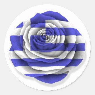 Grekroflagga på vit runda klistermärken
