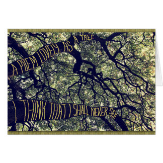 Grenar av ett stort Oakträd en dikt som är Hälsningskort