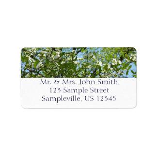 Grenar av träd för Dogwoodblommarvår Adressetikett
