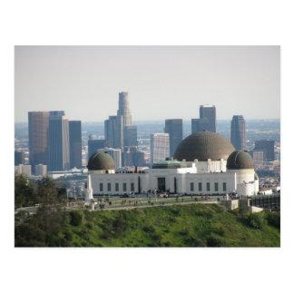 Griffith observatorium och i stadens centrum Los Vykort
