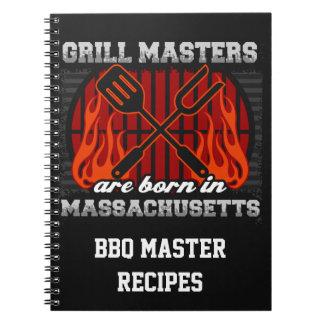 Grilla Masters är det bördiga Massachusetts recept Anteckningsbok Med Spiral