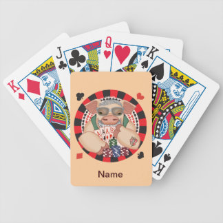 Grina pokergrisen som leker kort spelkort