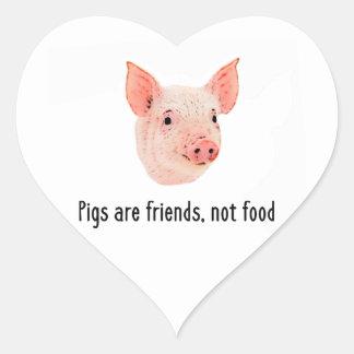 Grisar är vänner, inte matdesign hjärtformat klistermärke