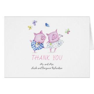 Grisar kopplar ihop gulligt brölloptack OBS kort