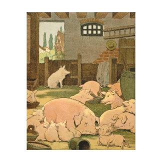 Grisar och Piglets på lantgården Canvastryck