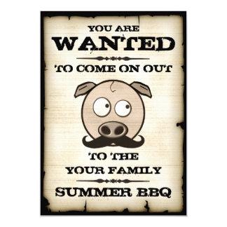 Grisen för sommarBBQ-mustaschen önskade 12,7 X 17,8 Cm Inbjudningskort