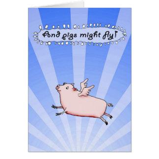 Grisstyrkafluga, humor, rosa gris med vingar hälsningskort