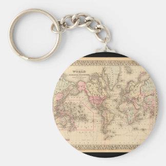 Grizzled världskarta 23 rund nyckelring
