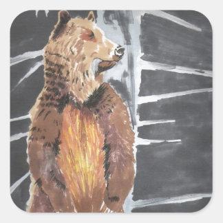 Grizzly Fyrkantigt Klistermärke