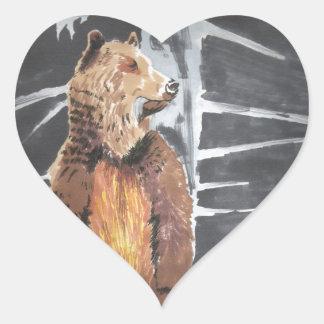 Grizzly Hjärtformat Klistermärke
