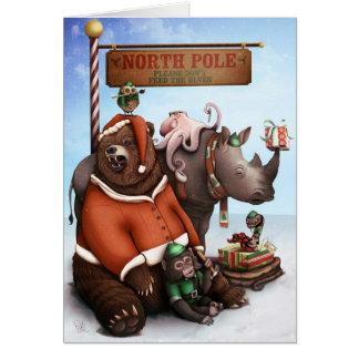 Grizzly Santa Hälsningskort