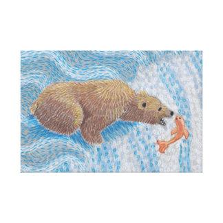 Grizzlybjörnvattenfall Canvastryck