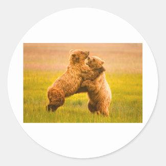 Grizzlyen uthärdar brottning runt klistermärke