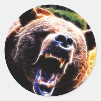 Grizzlyen vrålar runt klistermärke