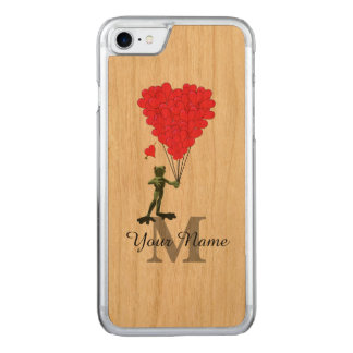 Groda och röd hjärtamonogram carved iPhone 7 skal