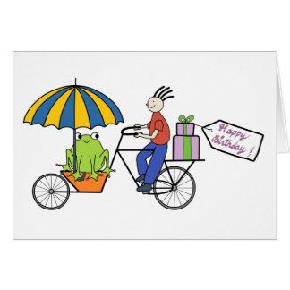 groda på ett cykelfödelsedagkort hälsningskort