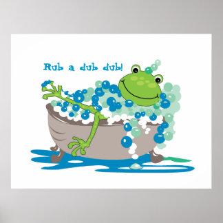 Grodan badar in badrummen för grodan för ungebadru affischer