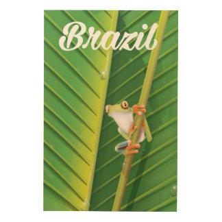 Grodan för det Brasilien rainforestträd reser Trätavla