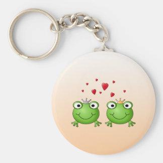 GrodaPrince och grodaPrincess, med hearts. Nyckel Ring