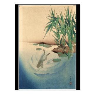 Grodor i ett damm, japansk konst circa 1800s vykort