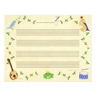 Grodor och papper för kaninmusikmanuskript brevhuvud