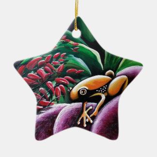 Grodor på trädgårds- löv julgransprydnad keramik