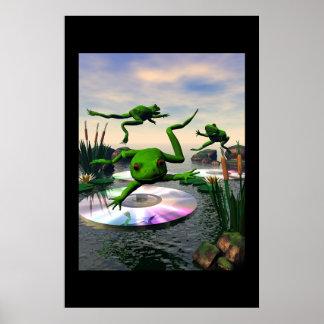 Grodor som hoppar på CD liljadynor Poster