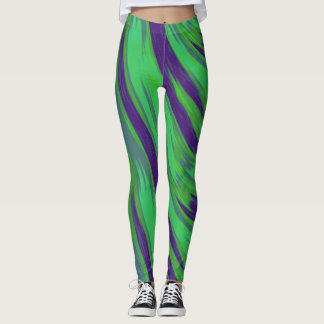 Grön abstrakt för blåttfärgSwish Leggings